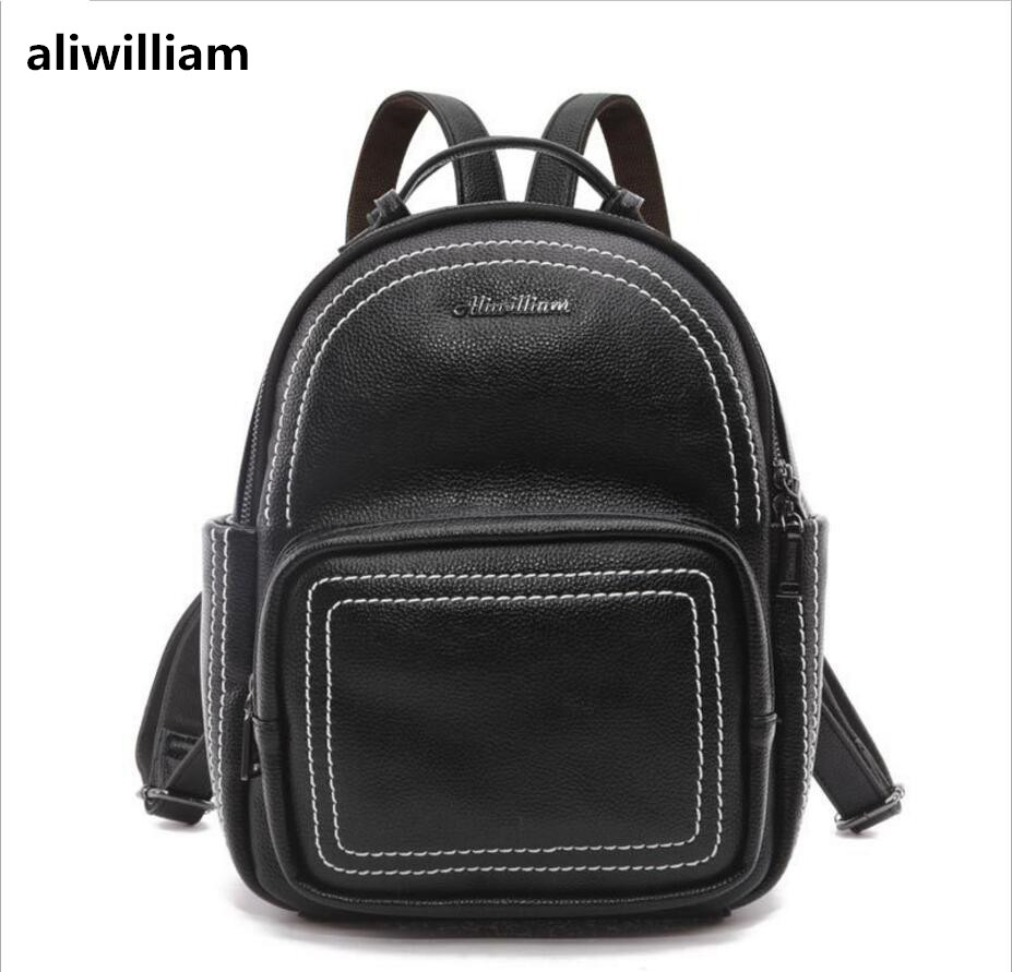 2017 New Backpack Female Korean Version of The School Style Bag Leisure Backpack Soft Leather Tourism