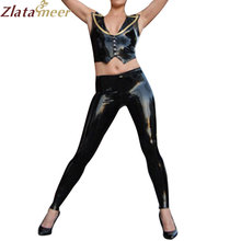 Women Latex Top and Pants Set Sexy V-neck Shirt and Long Skinny Pants Rubber Set Plus Size Adult Costume LC070