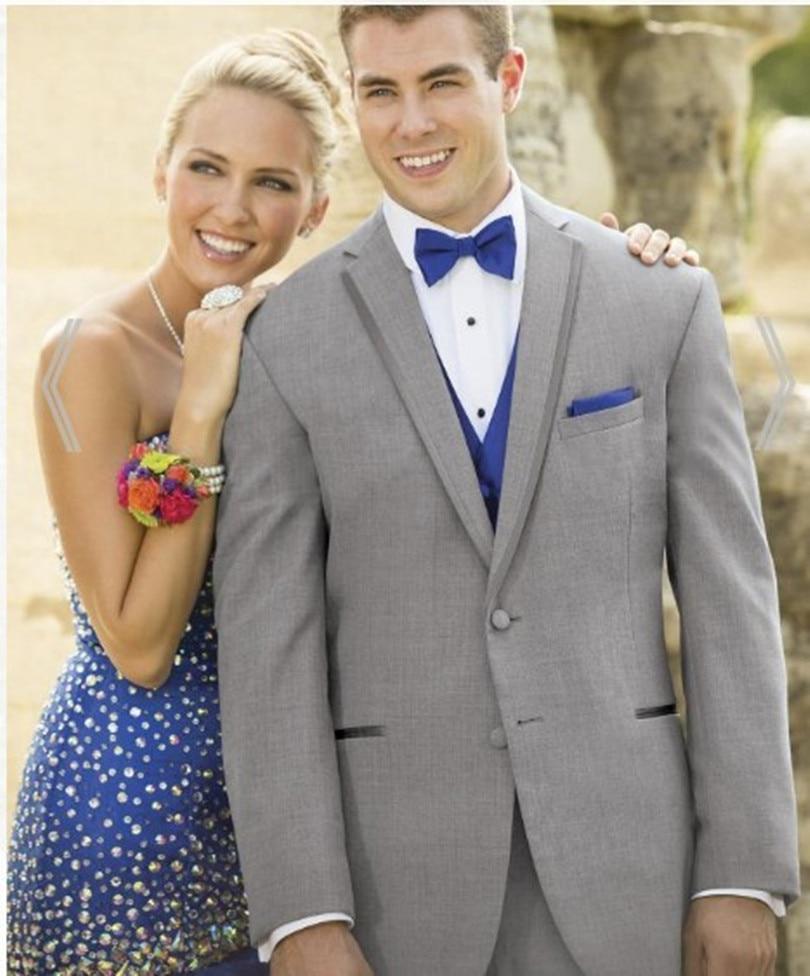 Wedding Suits Light Grey For Men Bridegroom Suit For