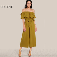 COLROVIE Sexy Flounce Culotte Jumpsuit Women Off Shoulder Self Tie Yellow Jumpsuits 2017 New Ruffle Half