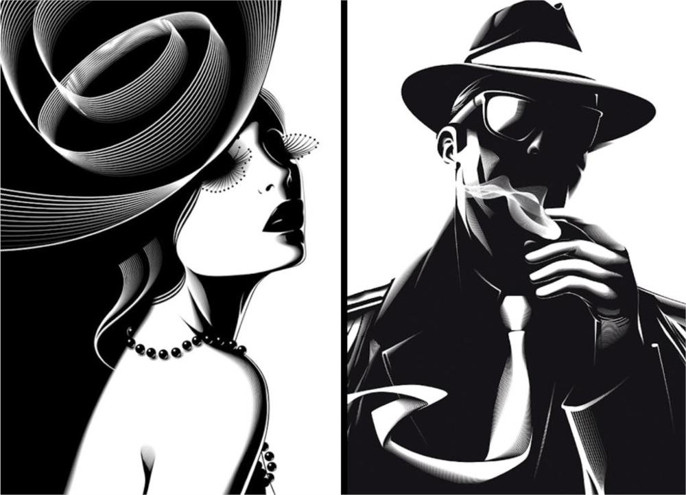 Beautiful abstract beautiful gangster and his moll 3 Sizes Silk Fabric Canvas Poster Print(China