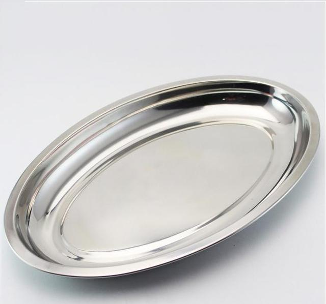 Beautiful Kitchen Tool Thick Oval Stainless Steel Plates / Fish Dish / Fish Plates/Oval  Dish
