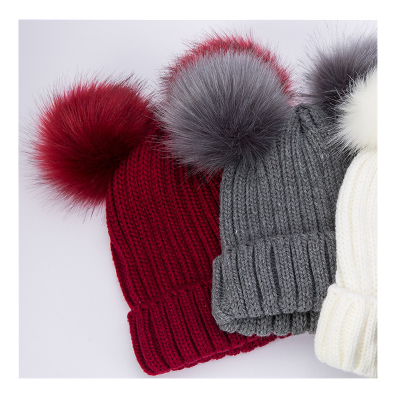 b68876d0b9a Women Winter Faux Fur Pom Pom Beanies Hat Fashion Knitted Woolen Hats Two  Pom Poms Skullies Cap Bonnet Solid Girls Caps-in Skullies   Beanies from  Apparel ...