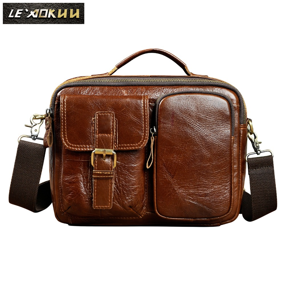 Quality Original Leather Male One Shoulder messenger bag cowhide fashion Cross-body Bag 8 Pad Tote Mochila Satchel bag 036