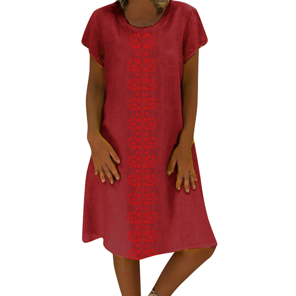 Cotton And Linen women's clothing O-Neck summer dresses and sundresses Printed Plus Size Ladies dresses summer sukienka #G6