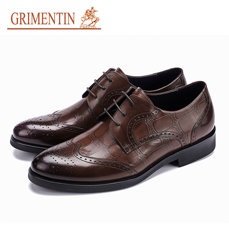 GRIMENTIN brand oxfords mens shoes genuine leather men business shoes 2018 hot sale lace up 3 color formal shoes hot sale mens genuine leather cow lace up male formal shoes dress shoes pointed toe footwear multi color plus size 37 44 yellow