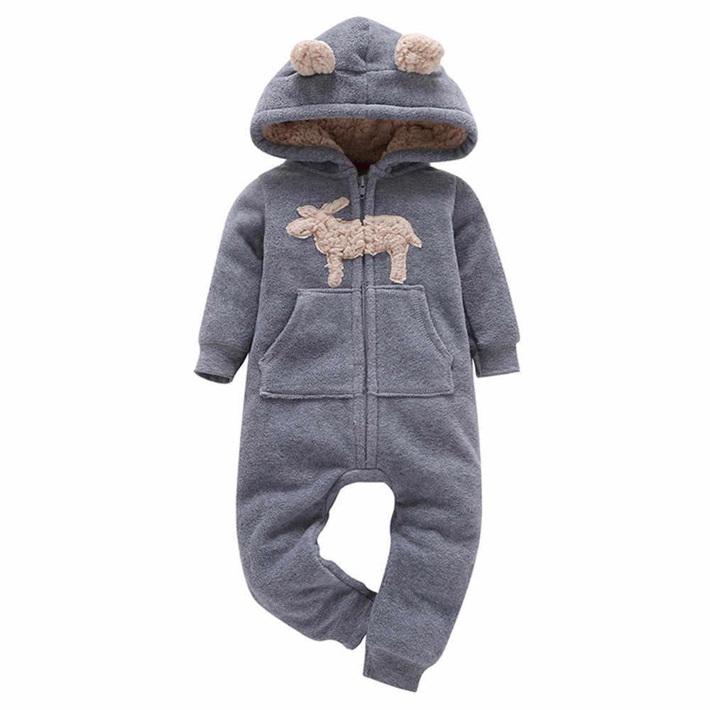 2018 nuevo recién nacido con capucha Fleece mono lindo de dibujos animados  de una pieza larga 7f5d84d75b8c