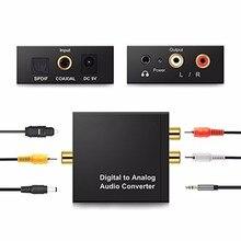 Protable 3.5 MM שקע 2 * RCA אודיו דיגיטלי מפענח מתאם ממיר מגבר אופטי סיבי קואקסיאלי אות אנלוגי סטריאו אודיו