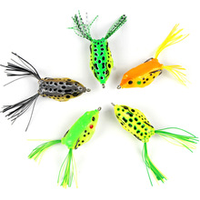 5pc/lot Frog Lure Fishing Lures Double Hooks Top Water Ray Artificial Minnow Crank Strong Soft Bait 14g 11cm