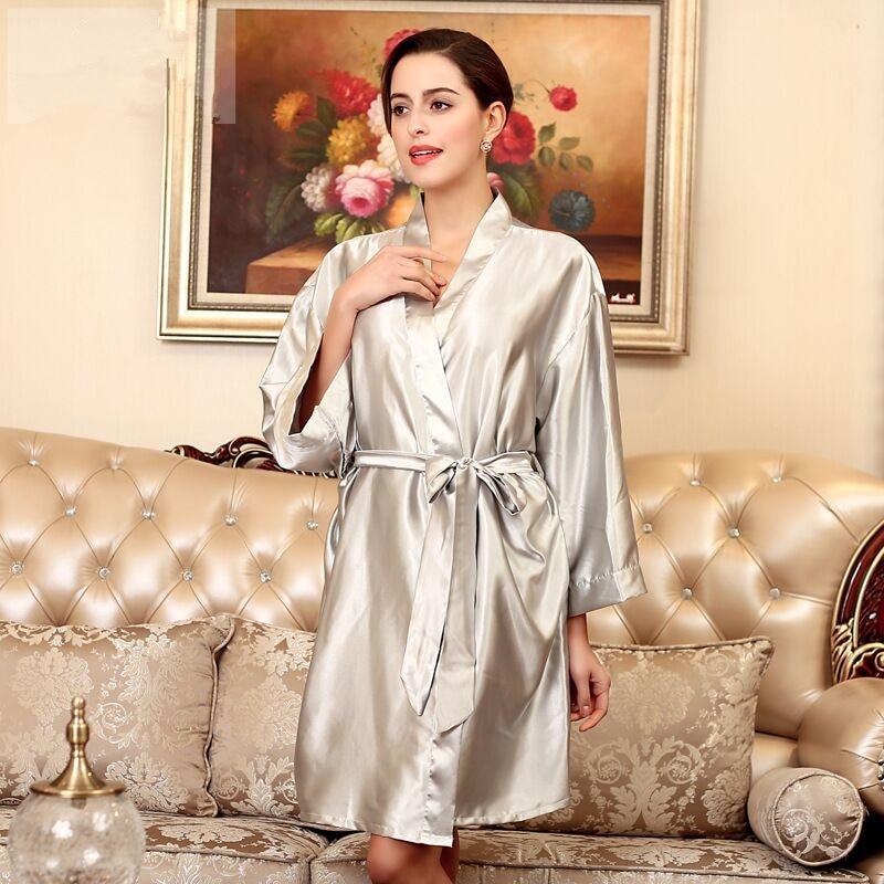 Light Gray Summer Womens Kimono Robe Bathrobe Sleepwear Female Faux Silk Bath Gown Nightgown Pyjamas Mujer Pijama Plus Size 016