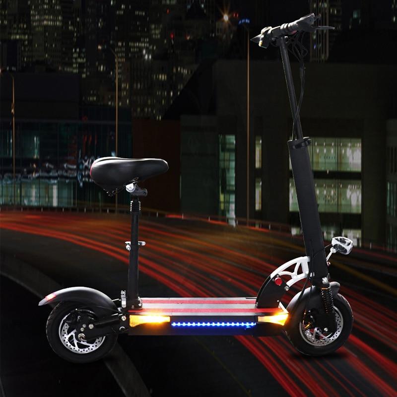 JS Scooter électrique 48V26A 100KM 10 ''siège de roue de moteur adultes pliable Patinete planche à roulettes électrique coup de pied E Scooter Houverboard