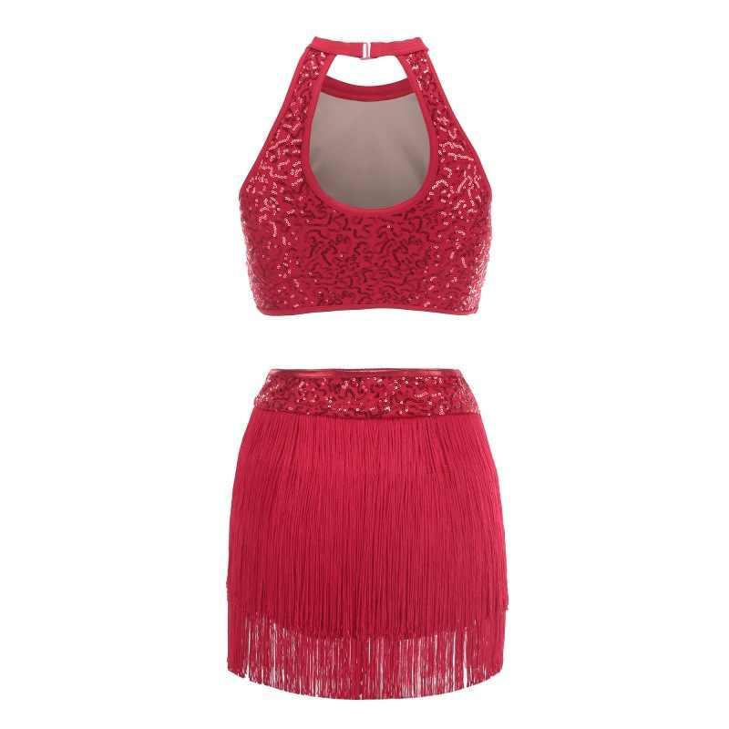 Блёстки сращивания платье с лямкой на шее Одежда для танцев балетные костюмы гимнастика практические занятия танцами красный фиолетовый черный