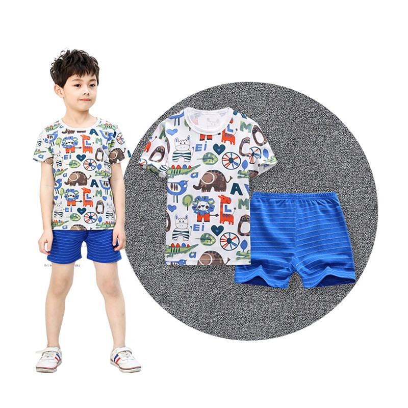 100% Cotton Pants T Shirt Boys Girls Clothing Children Summer Boys Clothes Cartoon Kids Girls T-Shirt Clothing Set acme jungle white