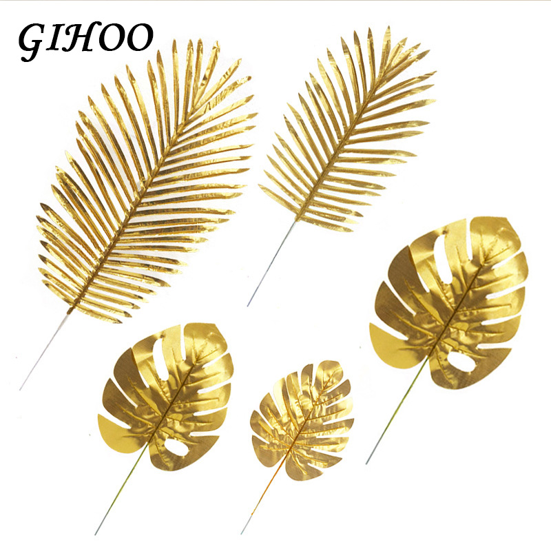 5PCS Gold Green High Quality Fake Leaf Artificial Tropical Palm Leaves DIY Plant Home Party Wedding Table Desk Decoration Supply in Artificial Plants from Home Garden