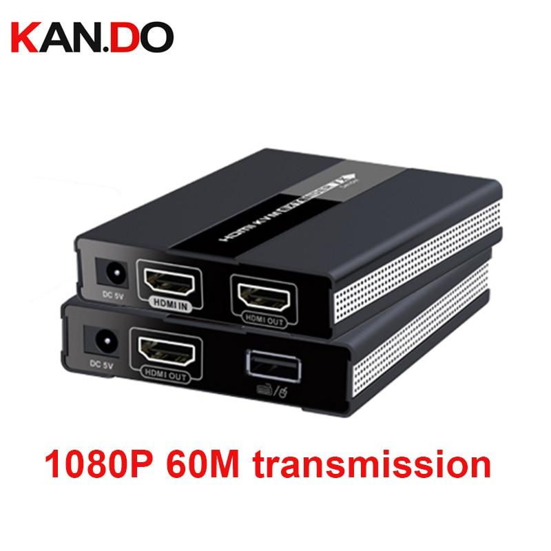 371kvm 1080P 60M USB HDMI KVM Extender Over Single Cat 5/5E/6/7 Ethernet Cable HDMI Extension USB Keyboard Mouse Support