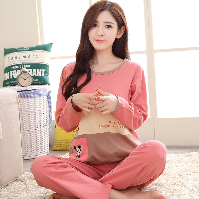 2019 Women Pajamas Sets Autumn Winter New Women Pyjamas Cotton Clothing Long Tops Set Female Pyjamas Sets NightSuit Mother Sleep 104