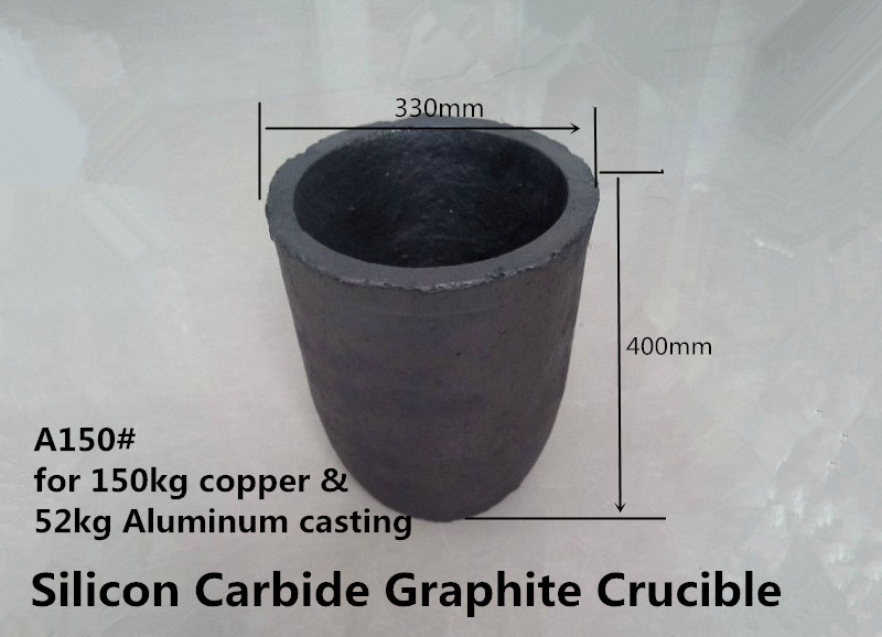 A150# Silicon Carbide Graphite Crucible   for 150kg copper and 52kg aluminum    /melting alumina INDUCTION MELTER