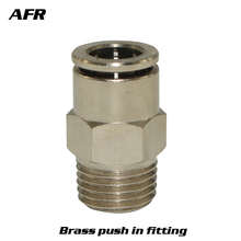 All copper thread through Brass Nickel Plated  Pneumatic AIR push in quick connector fittings TKC-PC6-M5 PC6-01 PC6-02  PC6-03