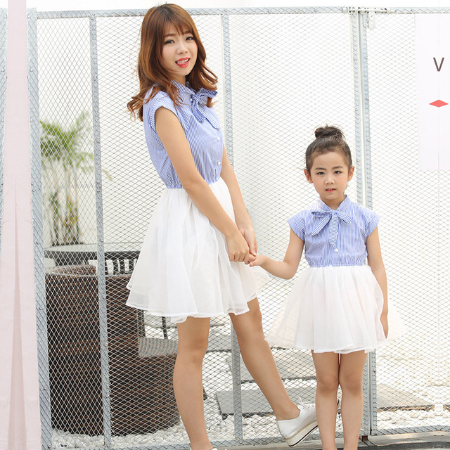 5fa70831eb3c Mother Daughter Clothes Kids Girls Summer Dress 2019 Women Striped Dresses  with Bow Family Clothing Mom and Daughter Gauze Dress