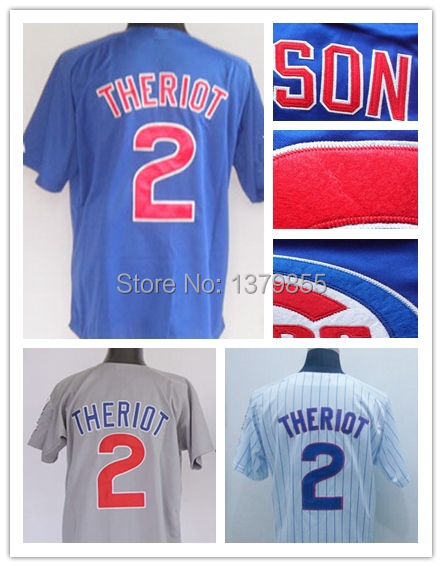 Mens Chicago Cubs #2 Ryan Theriot Jersey Baseball Blue Gray White 100%  Embroidery Logos