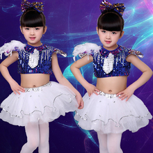 Girls Jazz Dance Latin Dance Ballet Costumes Children Modern Dance Sequins Kindergarten Group Dance Costumes цена и фото