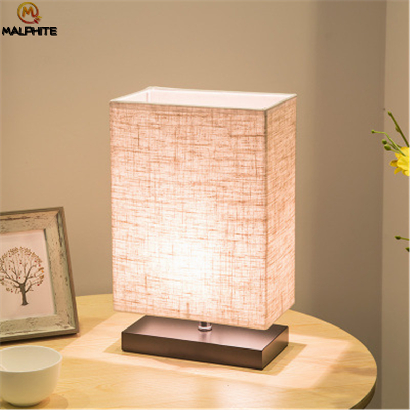 Modern Linen LED Table lights Living Room Lamps Table Fixtures Table Light Bedroom Bedside Lamp Wood Home Decor Luminaire Table in LED Table Lamps from Lights Lighting