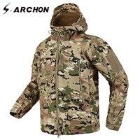 S.ARCHON Shark Skin Soft Shell Tactical Military Jacket Men Fleece Waterproof Army Clothing Multicam Camouflage Windbreakers Men