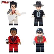 Single Freddie Mercury Legoings Figures Michael Jackson Kiss Band Queen Guitar Rock Model Building Block Toys for Children Gifts(China)
