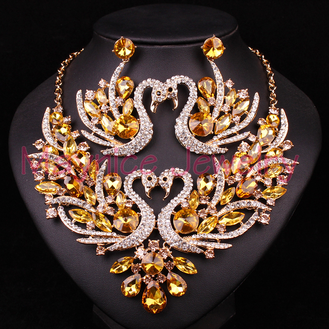 Yellow Crystal Swan Bridal Jewelry Set Gold Color Jewellery Party