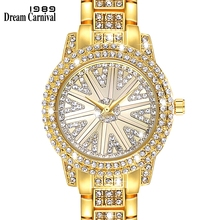 DreamCarnival 1989 Full Crystals Fashion Ladies Watch for Women 3 Hands Stones Dial Alloy Bracelet Factory Direct Sale A8280B