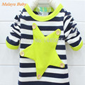 Malayu bebé 2016 primavera y otoño marca moda niños camiseta niños y niñas a rayas estrella de cinco puntas de largo-suéter de manga larga