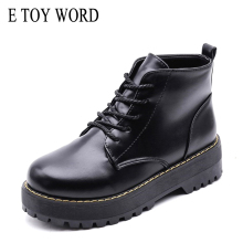 E TOY WORD Fashion Women Autumn boots Platform pu leather Boots Lace up women shoes round head black thick heel ankle boots цены онлайн