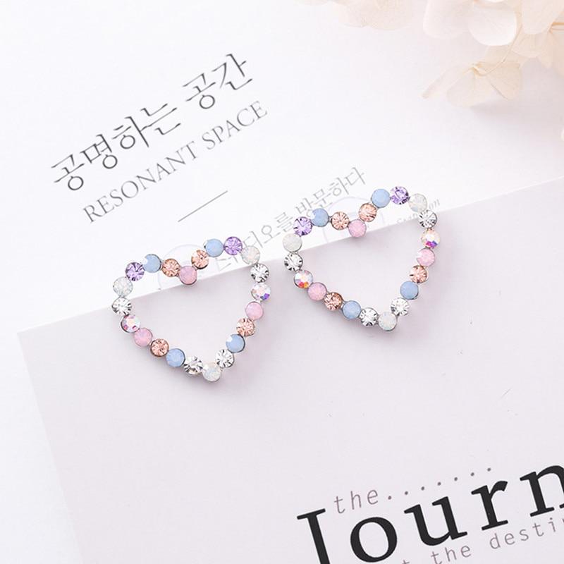 New Korean Hollow Multicolor Rhinestone Star Love Heart Stud Earrings For Women Cute Fashion Girl Ear Jewelry Brinco Gift 6G1006
