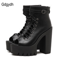 Gdgydh Fashion Black Women Pumps Ankle Strap 2017 New Spring Round Toe Platform Gladiator Shoes For