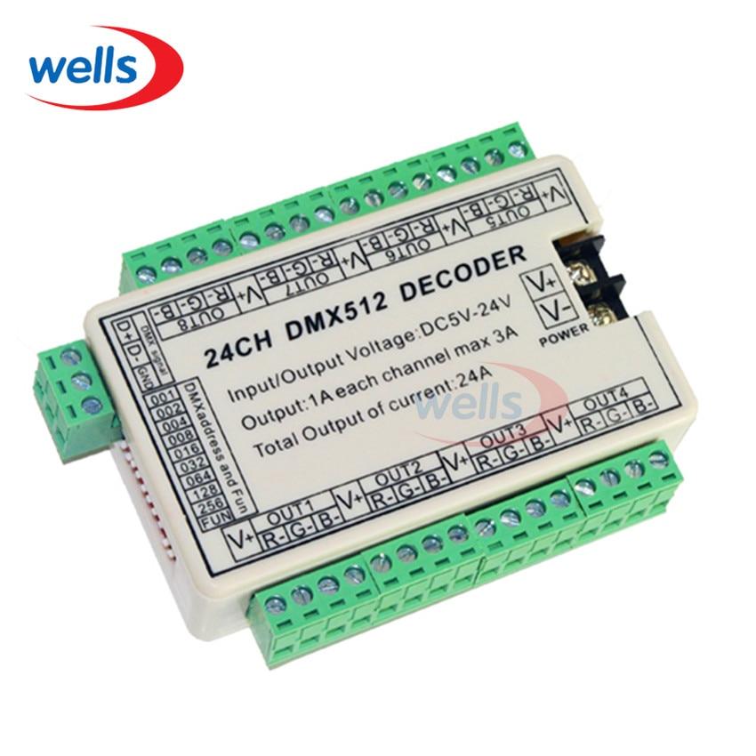 24CH Easy DMX Dmx512 Decoder,Controller,Drive,DC5V-24V 8 groups output for LED strip light,RGB node,module best price 1 pcs dc12 24v dmx cc 24ch 8 groups 24 channel dmx512 decoder use for led strip light