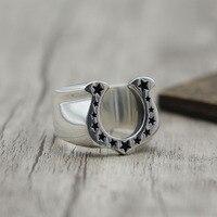 S925 jóias de prata personalidade trendsetter Retro Vintage Anel de ferradura anel fechado U em forma de Estrela de Prata