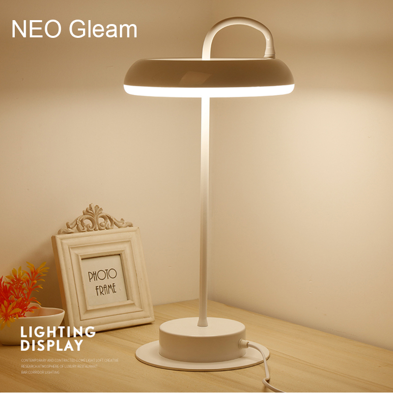 NEO Gleam Modern LED Table Lamps For Living Room Home Led Desk Lamp Bedroom Study Reading EU US Plug Acrylic+Hardware Lampshade bdbqbl modern art led table lamp lustre for living room bedroom light ghost desk lamp acrylic lampshade home lighting abajour