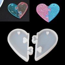 2 шт сердце замки для влюбленных кулон Жидкая силиконовая форма