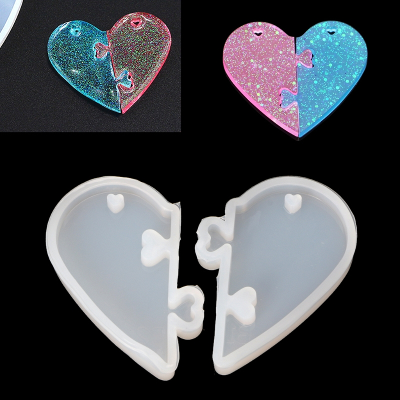 2Pcs Heart Locks For Lovers Pendant Liquid Silicone Mold DIY Epoxy Resin Mould Jewelry Tools