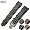 Smooth Watchbands Black Brown Leather Watch Band Straps With Orange Stitched Curved Watchbands Men 22 mm 23 mm Belt