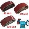 15pcs Abrasive Sanding Belts Aluminium Oxide Sandpaper Grit 40 80 120 3 X 21 For Polishing