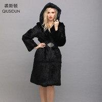 QIUSIDUN Кролик меха с капюшоном пальто натуральным шубы для 2017, женская обувь зима длинное пальто для Для женщин куртка Большие размеры; черный