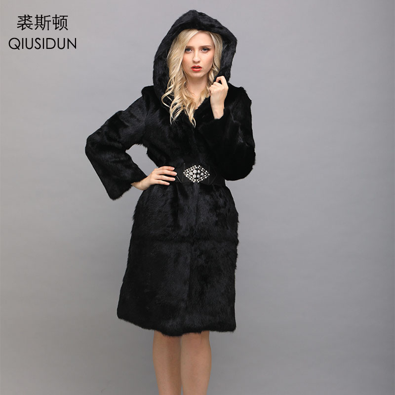 QIUSIDUN Rabbit Fur Hooded Coat Real Natural Fur Coats For Women 2017 Winter Long Coat For Women's Jacket Big Size Black 7xl