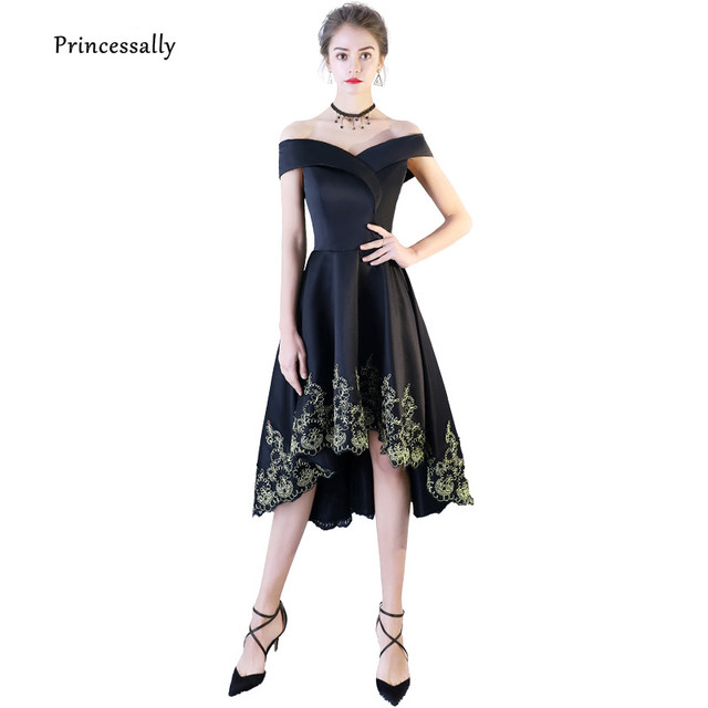 New High Low Black Evening Dresses Sexy Boat Neck Gold Embroidery