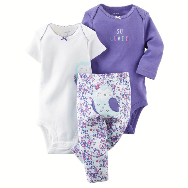 3 pcs/Set Cotton Baby Body Cartoon Colorful Baby Girl Bodysuits Boy Jumpsuit Infant Clothing for Summer and Autumn