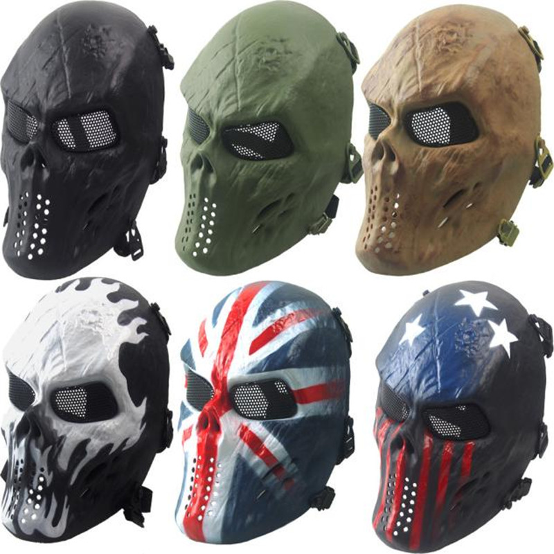B2 Airsoft Paintball Full Face Skull Skeleton CS Mask Tactical Military Halloween Hiking&Camping War Game Wholesale&Retail
