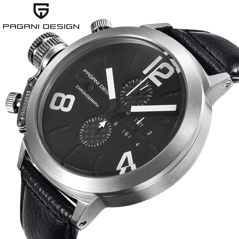 PAGANI DESIGN Japan Movt Quartz <font><b>Watches</b></font> Men Sport Waterproof Auto Date Wristwatches man military Leather <font><b>Watch</b></font> Relogio masculino image