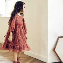 floral long sleeve dress Children's and girls double lace  evening dress floral nine points sleeve hollow lace dress
