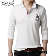 Mwxsd brand casual mens long sleeve cotton polo shirt men soft solid embroidery male polos para hombre