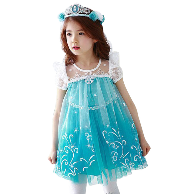 Hot 2017 Summer Girl Fashion Elsa Anna Dress Children Clothing Girls Princess Elsa Anna Party Dresses Baby Kids Clothes Vestidos 2